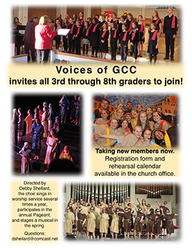 Flyer advertising the Voices of GCC.